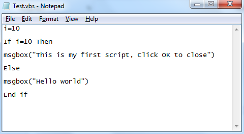 Run VB Script code written on notepad without any additional