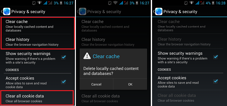 how to clear galaxy s browser history